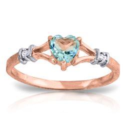 Genuine 0.47 ctw Blue Topaz & Diamond Ring Jewelry 14KT Rose Gold - REF-27A2K