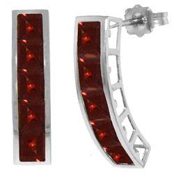 Genuine 4.5 ctw Garnet Earrings Jewelry 14KT White Gold - REF-38H5X