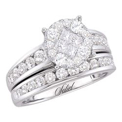 0.50 CTW Diamond Soleil Cluster Bridal Engagement Ring 14KT White Gold - REF-86F2N