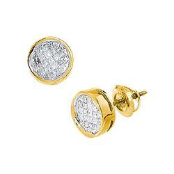 0.50 CTW Princess Diamond Invisible-set Circle Stud Earrings 14k Yellow Gold - REF-41N9F