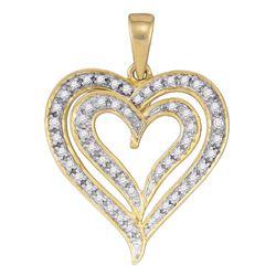 0.25 CTW Diamond Heart Love Pendant 10KT Yellow Gold - REF-18K2W