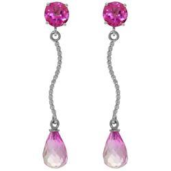 Genuine 4.3 ctw Pink Topaz Earrings Jewelry 14KT White Gold - REF-24V4W