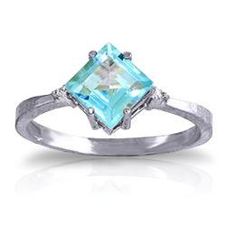 Genuine 1.77 ctw Blue Topaz & Diamond Ring Jewelry 14KT White Gold - REF-28A8K