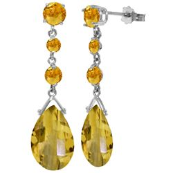 Genuine 13.2 ctw Citrine Earrings Jewelry 14KT White Gold - REF-39Z3N
