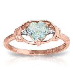 Genuine 0.96 ctw Aquamarine & Diamond Ring Jewelry 14KT Rose Gold - REF-42M9T