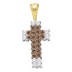 0.25 CTW Cognac-brown Color Diamond Cross Pendant 14KT Yellow Gold - REF-19W4K