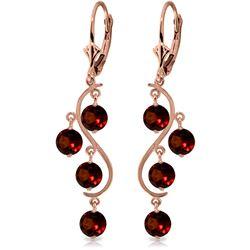 Genuine 4.95 ctw Garnet Earrings Jewelry 14KT Rose Gold - REF-53N8R