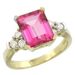 Natural 2.86 ctw pink-topaz & Diamond Engagement Ring 14K Yellow Gold - REF-65X2A
