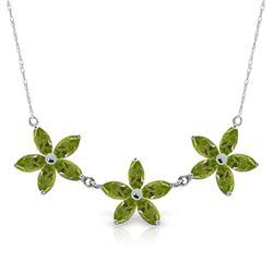 Genuine 4.2 ctw Peridot Necklace Jewelry 14KT White Gold - REF-60X7M