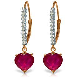 Genuine 3.2 ctw Ruby & Diamond Earrings Jewelry 14KT Rose Gold - REF-72H3X