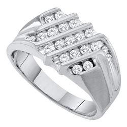 0.52 CTW Mens Diamond Cluster Ring 10KT White Gold - REF-44N9F
