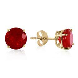 Genuine 4.5 ctw Ruby Earrings Jewelry 14KT Yellow Gold - REF-40X7M