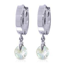 Genuine 1.30 ctw Aquamarine Earrings Jewelry 14KT White Gold - REF-29M2T