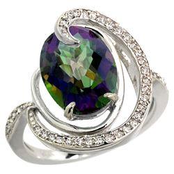 Natural 6.53 ctw mystic-topaz & Diamond Engagement Ring 14K White Gold - REF-72W8K