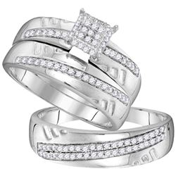 0.50 CTW His & Hers Diamond Cluster Matching Bridal Ring 10KT White Gold - REF-52F4N