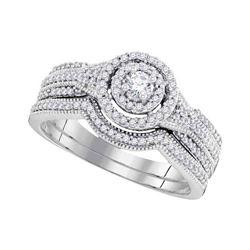 0.50 CTW Diamond Bridal Wedding Engagement Ring 10KT White Gold - REF-59X9Y