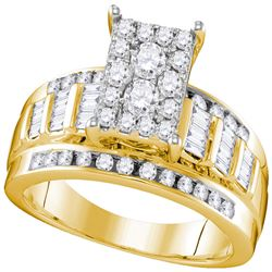 0.92 CTW Diamond Rectangle Cluster Bridal Engagement Ring 10KT Yellow Gold - REF-71X9Y