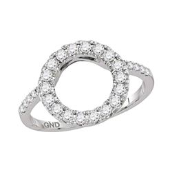 0.50 CTW Diamond Circle Halo Wrap Ring 14KT White Gold - REF-50Y9X
