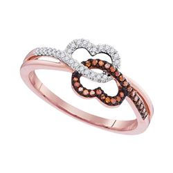 0.15 CTW Red Color Diamond Double Linked Heart Ring 10KT Rose Gold - REF-19K4W