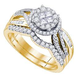 0.75 CTW Princess Diamond Soleil Bridal Engagement Ring 14KT Yellow Gold - REF-104X9Y