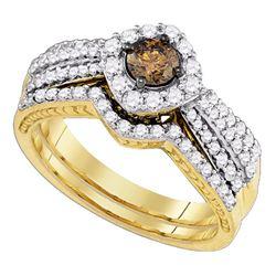1.15 CTW Cognac-brown Diamond Bridal Wedding Engagement Ring 14KT Yellow Gold - REF-127K4W