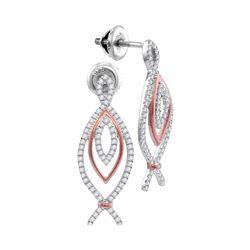0.45 CTW Diamond Oval Screwback Earrings 10KT Two-tone Gold - REF-41F9N