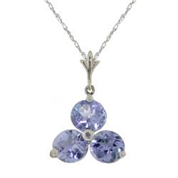 Genuine 0.75 ctw Tanzanite Necklace Jewelry 14KT White Gold - REF-23N2R