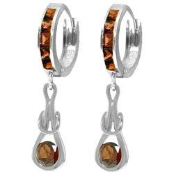 Genuine 2.6 ctw Garnet Earrings Jewelry 14KT White Gold - REF-75W2Y