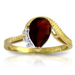 Genuine 1.52 ctw Garnet & Diamond Ring Jewelry 14KT Yellow Gold - REF-51T4A