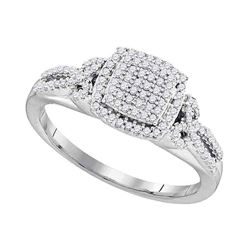 0.33 CTW Diamond Square Cluster Bridal Engagement Ring 10KT White Gold - REF-30M2H