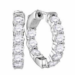 3.85 CTW Diamond Hoop Earrings 14KT White Gold - REF-750Y2X