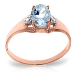 Genuine 0.76 ctw Aquamarine & Diamond Ring Jewelry 14KT Rose Gold - REF-23W2Y