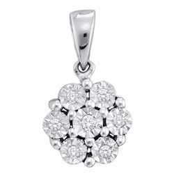 0.05 CTW Diamond Cluster Pendant 10KT White Gold - REF-6M2H