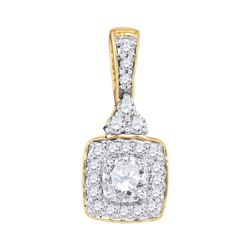 0.50 CTW Diamond Solitaire Square Pendant 10KT Yellow Gold - REF-52X4Y