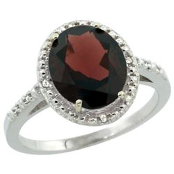 Natural 2.42 ctw Garnet & Diamond Engagement Ring 10K White Gold - REF-28W4K