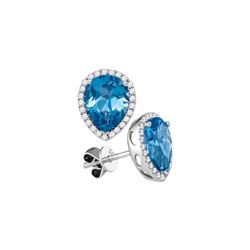 1.75 CTW Pear Blue Topaz Solitaire Diamond Stud Earrings 14KT White Gold - REF-75X2Y