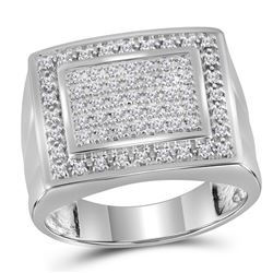 0.50 CTW Mens Diamond Square Cluster Ring 10KT White Gold - REF-44Y9X