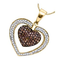 0.99 CTW Cognac-brown Color Diamond Double Heart Pendant 10KT Yellow Gold - REF-43N4F