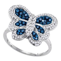 0.71 CTW Blue Color Diamond Butterfly Bug Ring 10KT White Gold - REF-37H5M