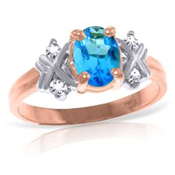 Genuine 0.97 ctw Blue Topaz & Diamond Ring Jewelry 14KT Rose Gold - REF-59A2K
