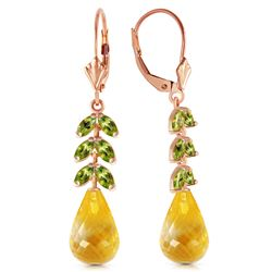 Genuine 11.20 ctw Citrine & Peridot Earrings Jewelry 14KT Rose Gold - REF-56Y2F