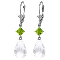 Genuine 11 ctw White Topaz & Peridot Earrings Jewelry 14KT White Gold - REF-39R3P