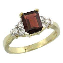 Natural 1.48 ctw garnet & Diamond Engagement Ring 14K Yellow Gold - REF-52K3R