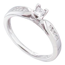 0.25 CTW Princess Diamond Solitaire Bridal Engagement Ring 14KT White Gold - REF-37W5K