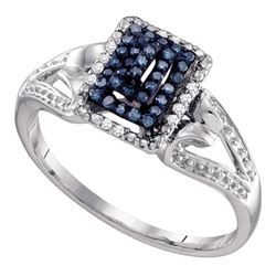 0.15 CTW Blue Color Diamond Cluster Ring 10KT White Gold - REF-18M2H