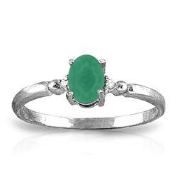 Genuine 0.51 ctw Emerald & Diamond Ring Jewelry 14KT White Gold - REF-30W5Y