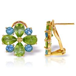 Genuine 4.85 ctw Blue Topaz & Peridot Earrings Jewelry 14KT Yellow Gold - REF-58P4H