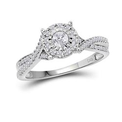 0.33 CTW Diamond Halo Bridal Engagement Anniversary Ring 14k White Gold - REF-52N4F