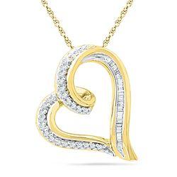 0.16 CTW Diamond Heart Outline Pendant 10KT Yellow Gold - REF-16N4F