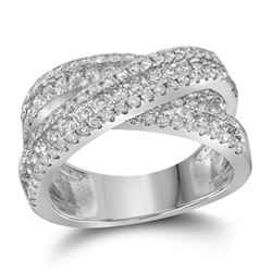 1.93 CTW Pave-set Diamond Crossover Cocktail Ring 14KT White Gold - REF-224N9F